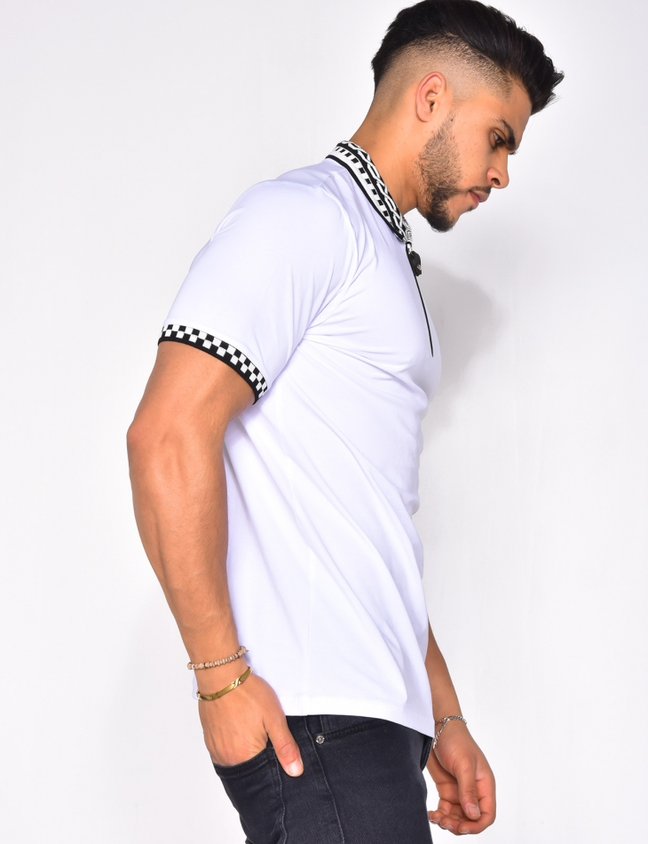 Polo Shirt with Zip and Pattern