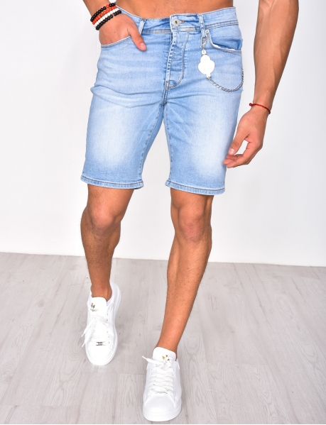 Denim Shorts with Chain