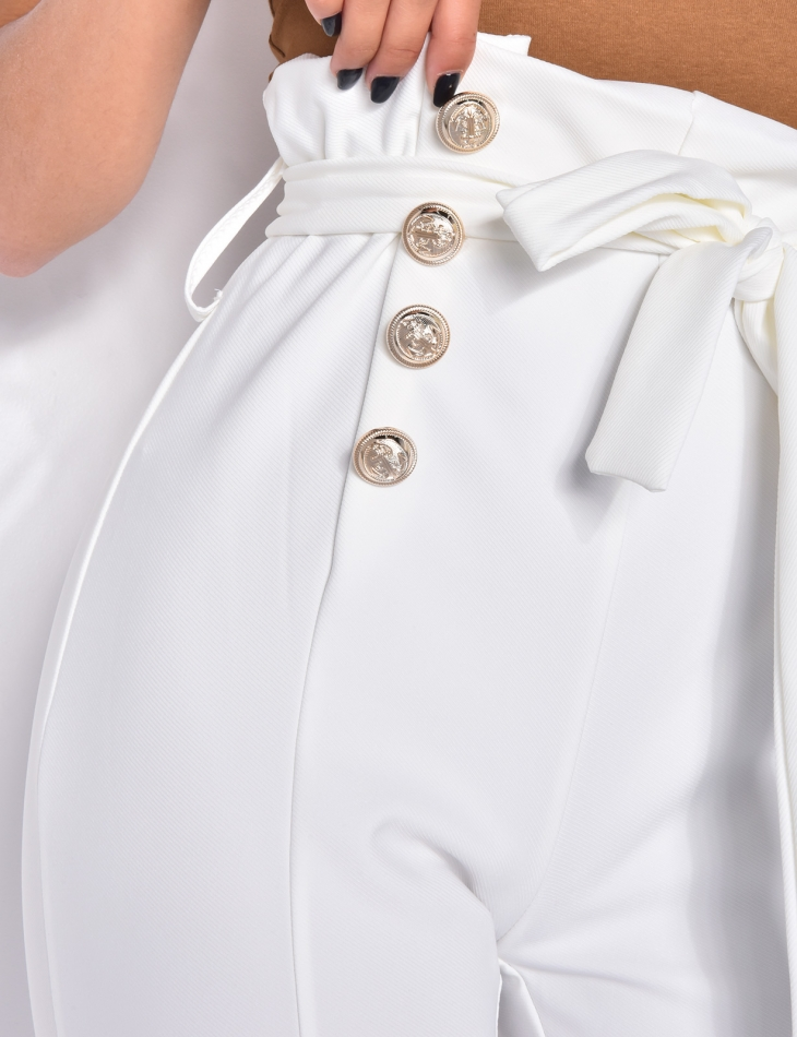 Tie Trousers with Officer Buttons