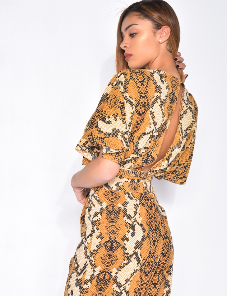 Crop top with tie back and snakeskin pattern