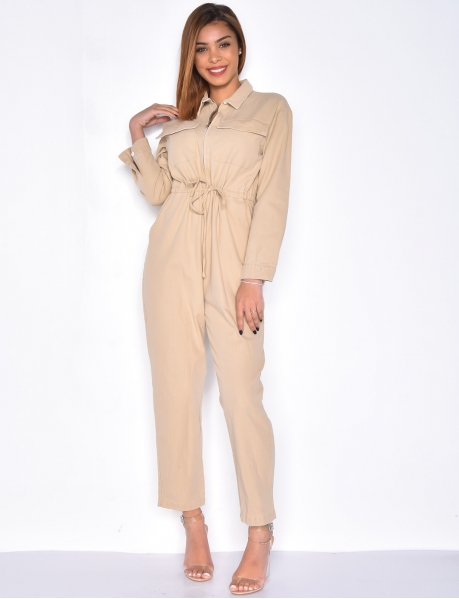 Tie Jumpsuit with Zip