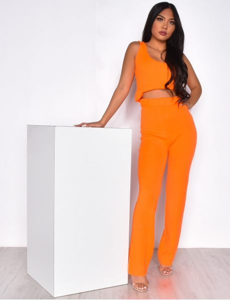 Ribbed Crop Top and Trousers Co-ord