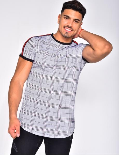 T-shirt à carreaux et bandes oversize