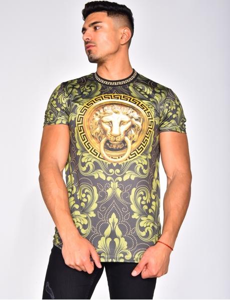 T-shirt tête de tigre et motifs symétrique