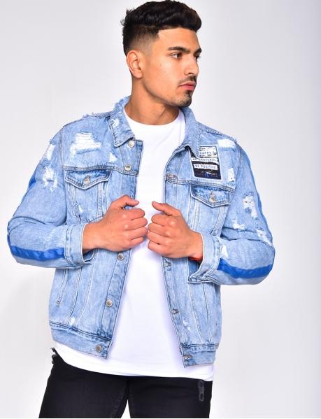 Veste en jeans destroy à bandes et écusson