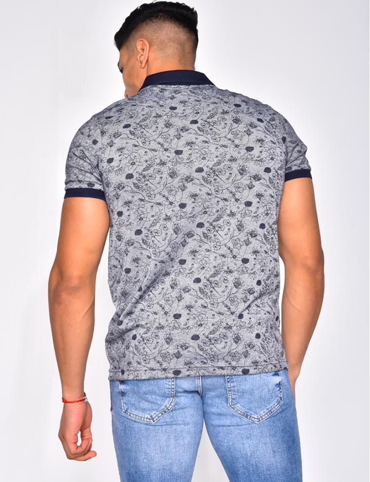 Polo Shirt with Flower Pattern