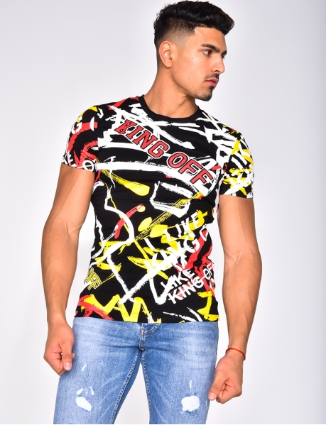 "T-shirt ""King Off"" à graffiti"