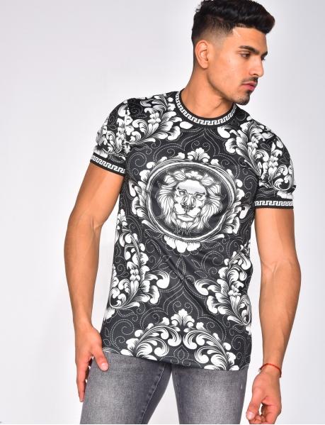 T-shirt tête de tigre et à motifs symétrique