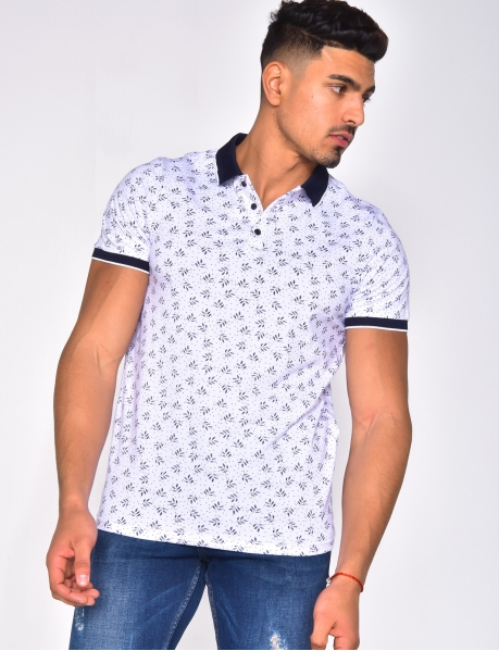 Polo Shirt with Polka Dots and Leaves