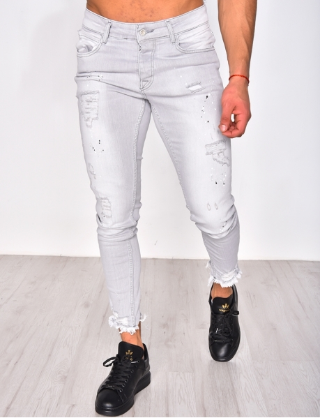 Jeans skinny destroy à tâches