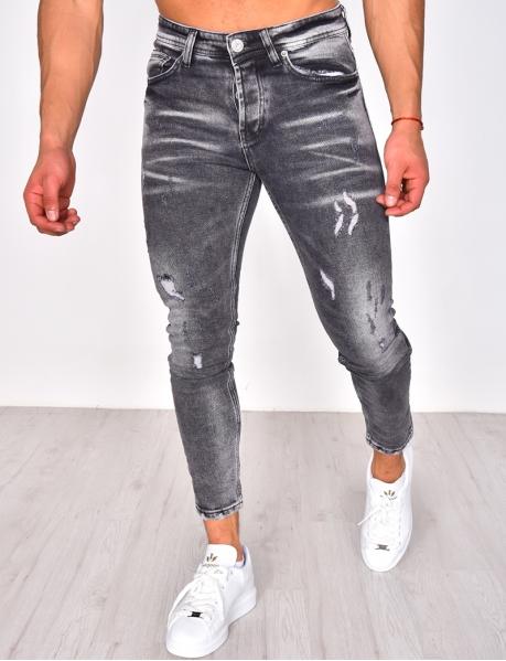 Jeans gris destroy délavé