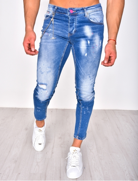 Ripped Jeans with Marks and Chain