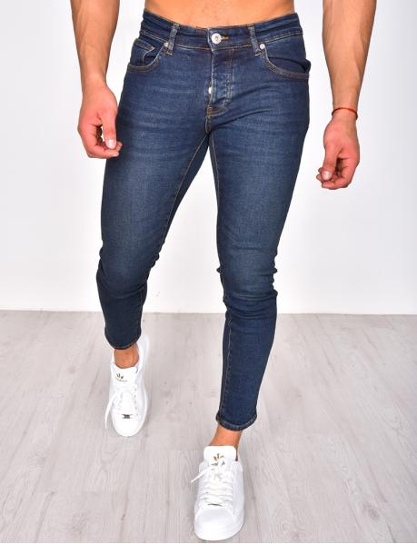 Blue Raw Skinny Jeans