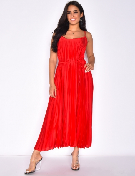 Long Pleated and Satiny Dress