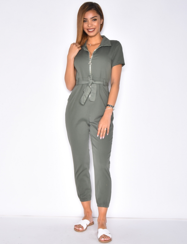 Jumpsuit with Zip and Belt