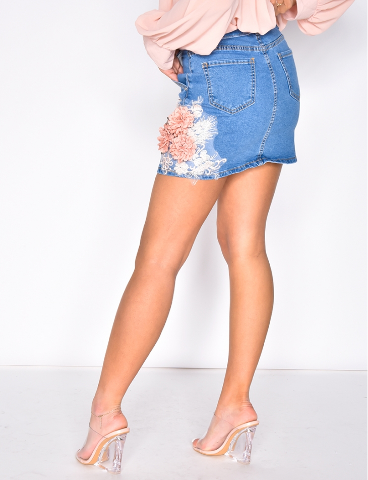 Denim Skirt with Flowers and Belt
