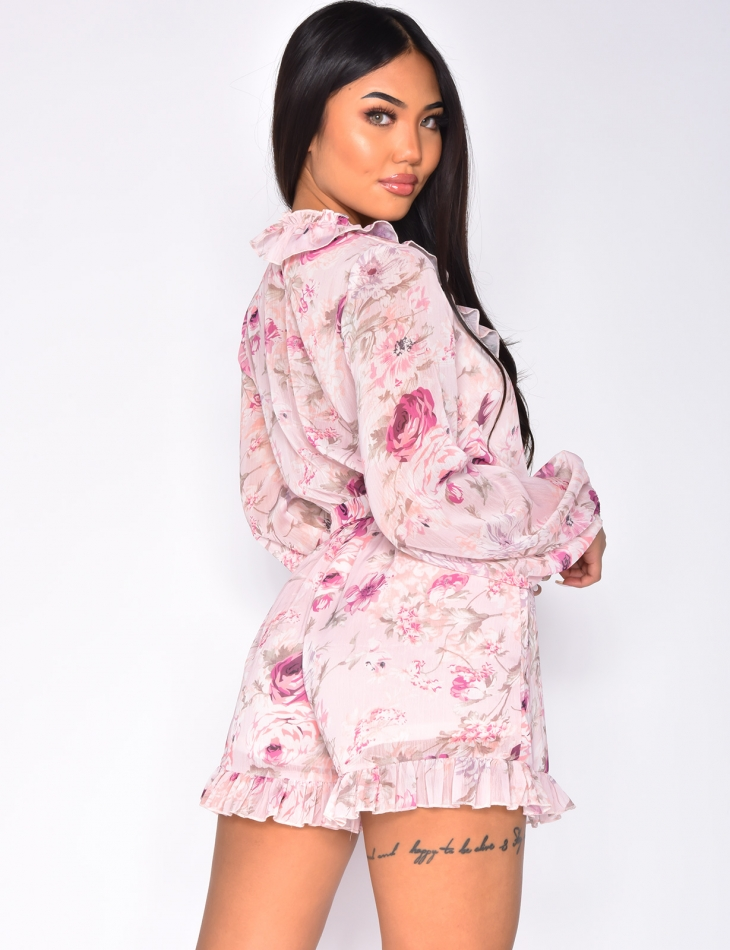 Loose Fit Flowery Playsuit with Belt and Ruffles