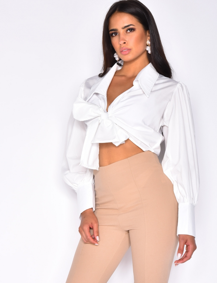 Crop top col chemise manches bouffantes