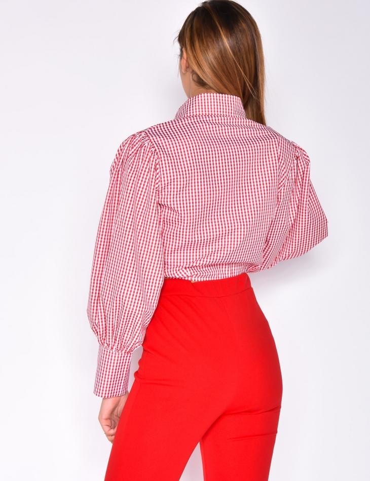 Shirt Collar Long Sleeved Tie Crop Top