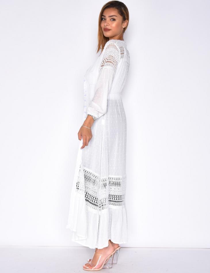 Long Plumetis Shirt Dress with Tassels