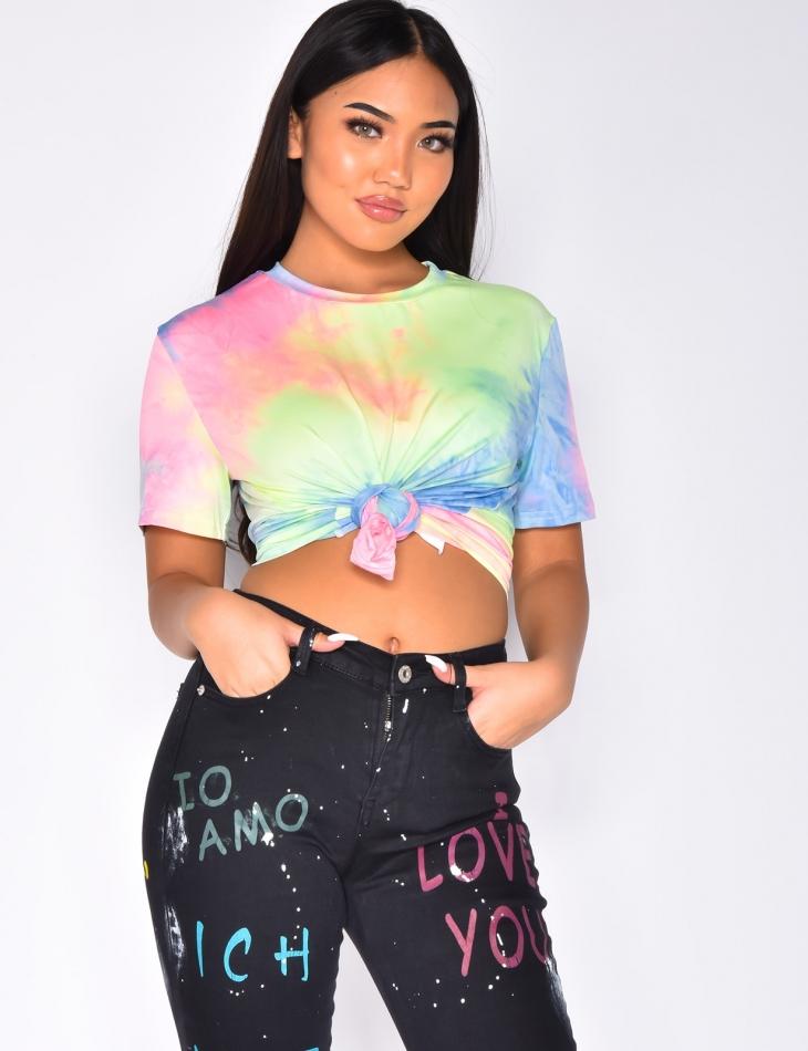 T-shirt à noeud multicolor
