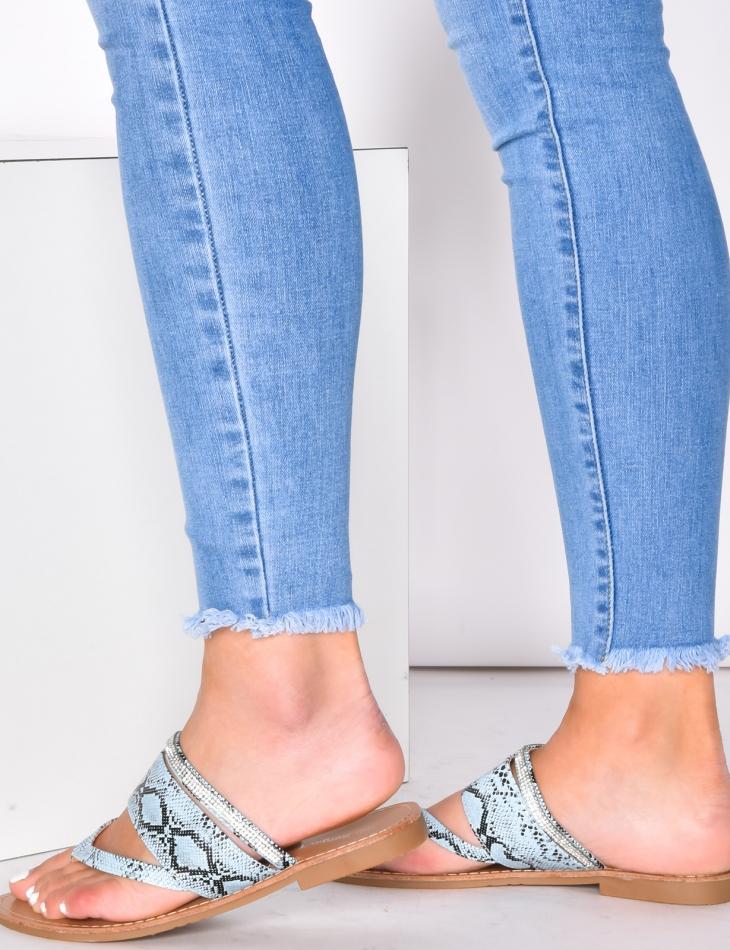 Sandales motifs serpent à strass