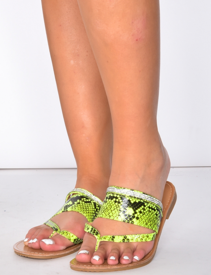 Sandals with Snakeskin Pattern and Diamantés