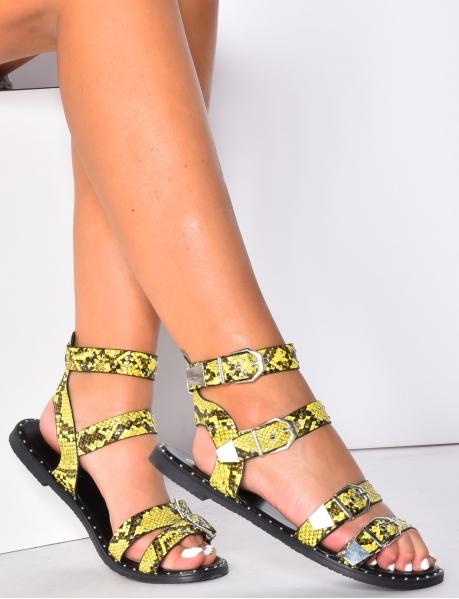 Sandales motifs serpent à sangles