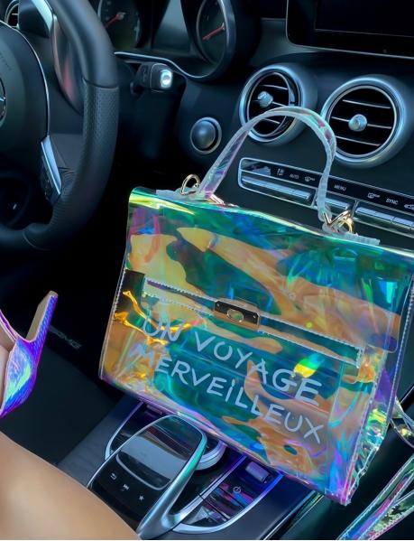 """Petit sac à main transparent """"Un Voyage Merveilleux"""" avec pochette"""