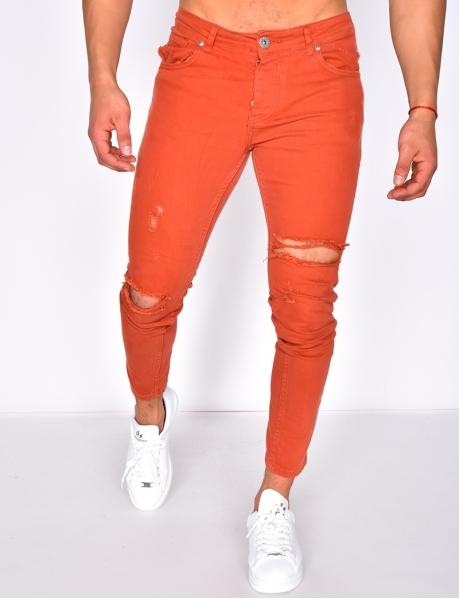 Jeans destroy rouge brique
