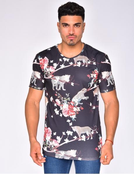 T-shirt à fleurs et léopard