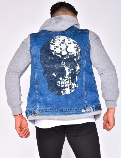 Denim Jacket with Rhinestone Skull