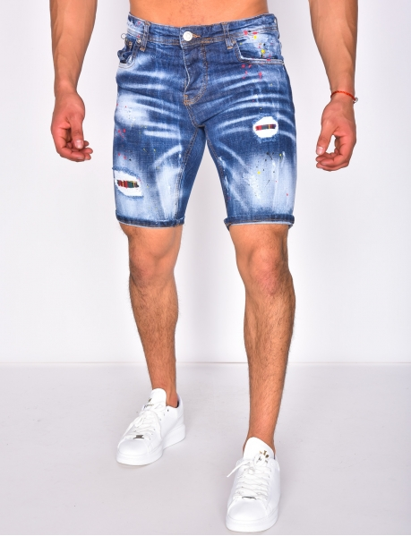 Ripped Denim Shorts with Paint Flecks