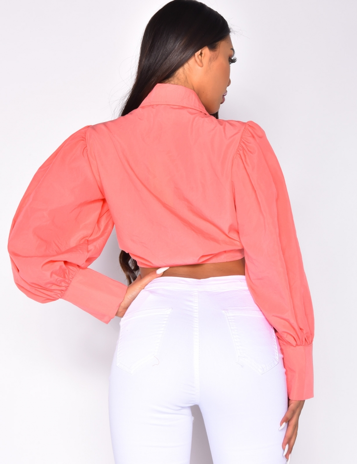 Shirt Collar Crop Top with Puff Sleeves