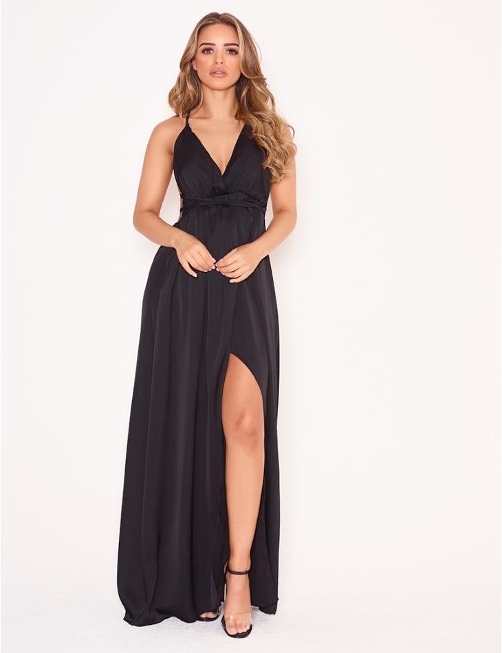 Long Backless Satin Dress