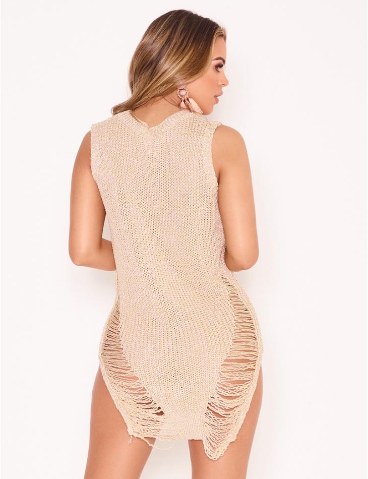 Short Iridescent Knit Dress