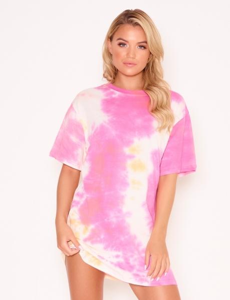 T-Shirt-Kleid in Tie-Dye-Optik