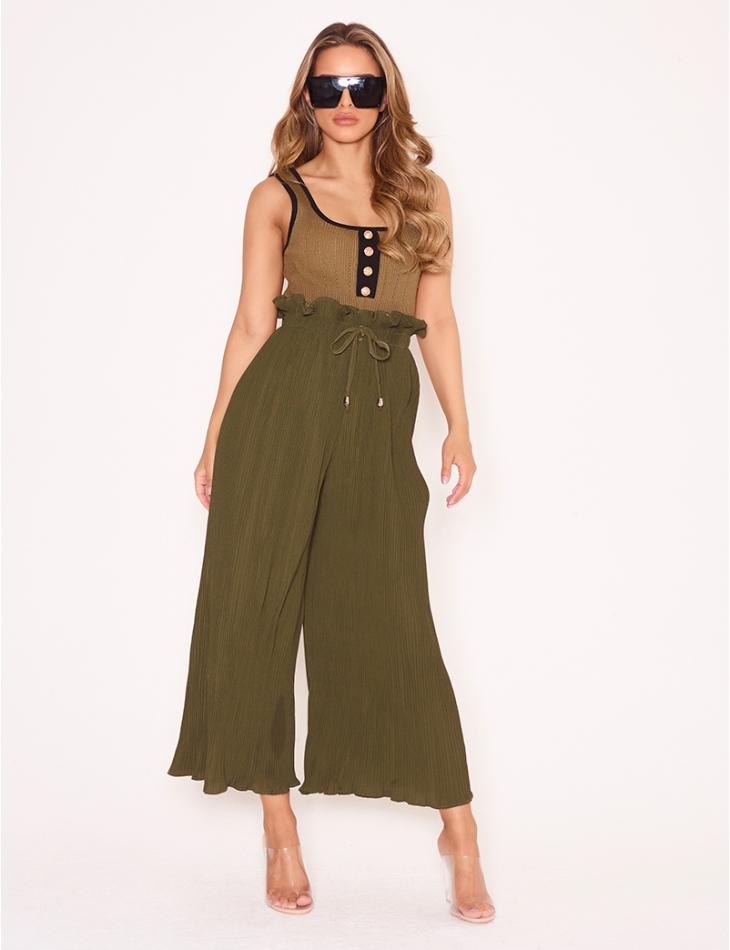 Pantalon évasé texturé