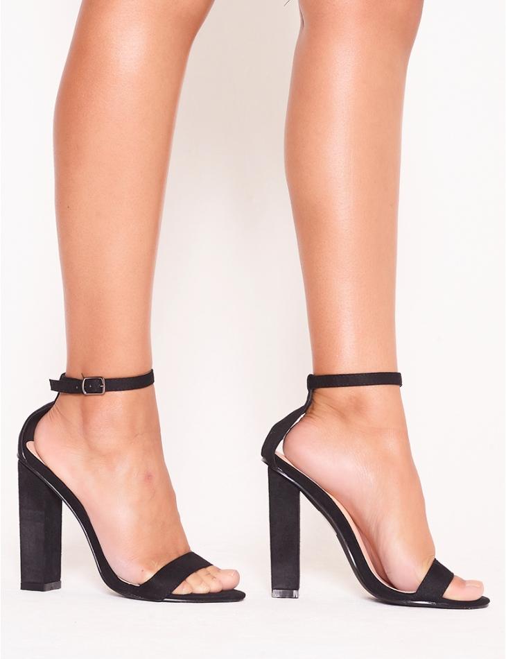 Suedette heeled sandals