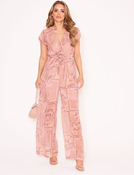 Loose Fit Jumpsuit with Baroque Pattern
