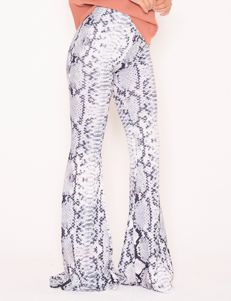 Bell Bottom Trousers with Snakeskin Pattern