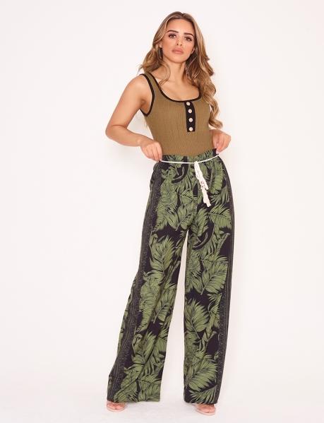 Pantalon fluide à motif feuilles