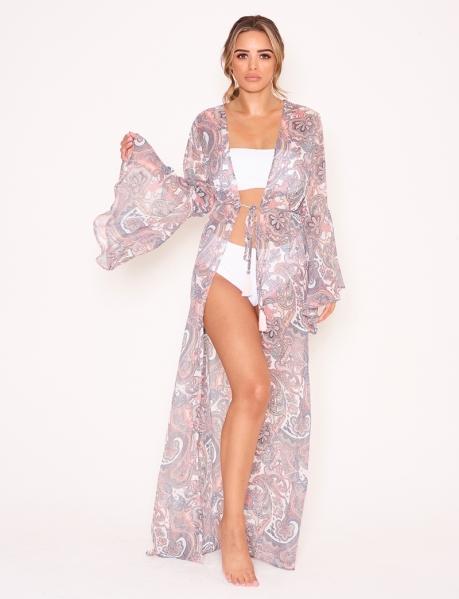 Kimono long motif arabesque à ficelle
