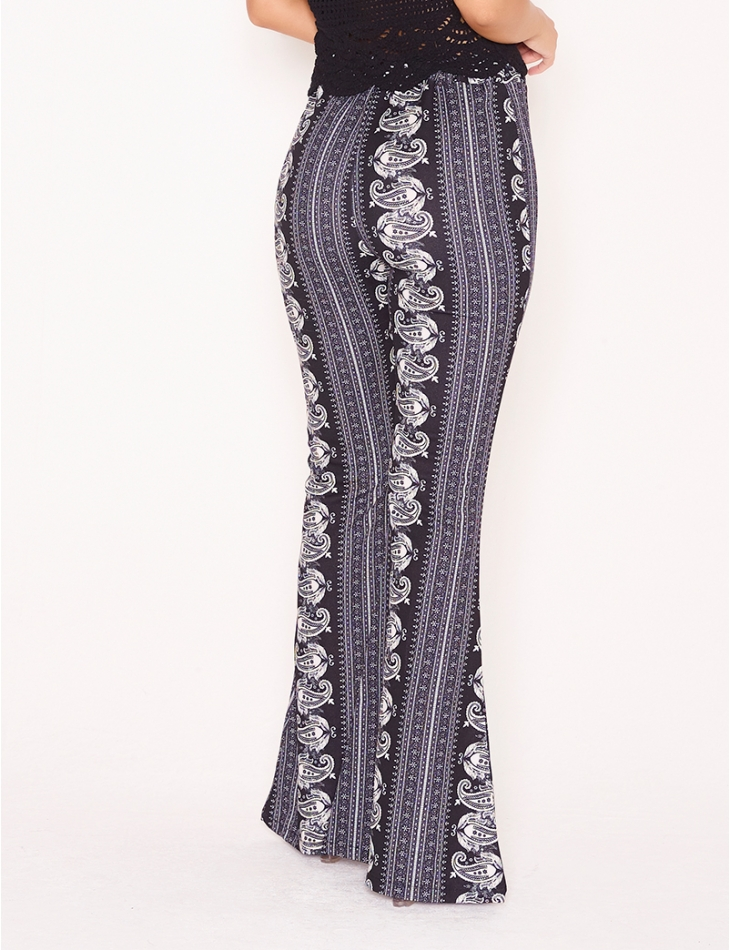 Bell Bottom Trousers with Bandana Pattern