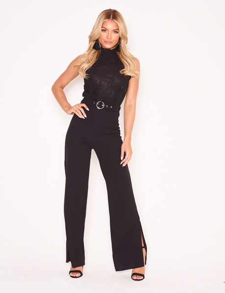 Loose Fit Slit Trousers with Belt
