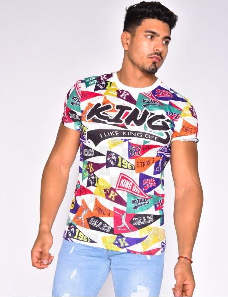 "T-shirt ""King"" à graffitis"