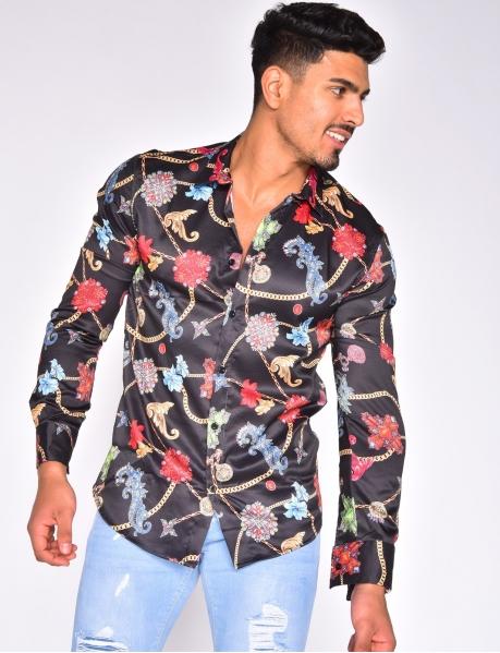 Weich fließendes Hemd mit floralen Motiven