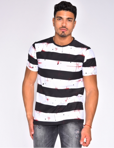 Speckled T-shirt with Stripes