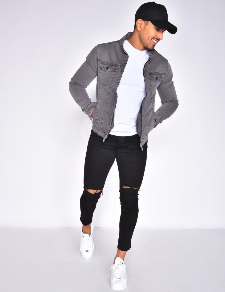 Denim Jacket with Zip