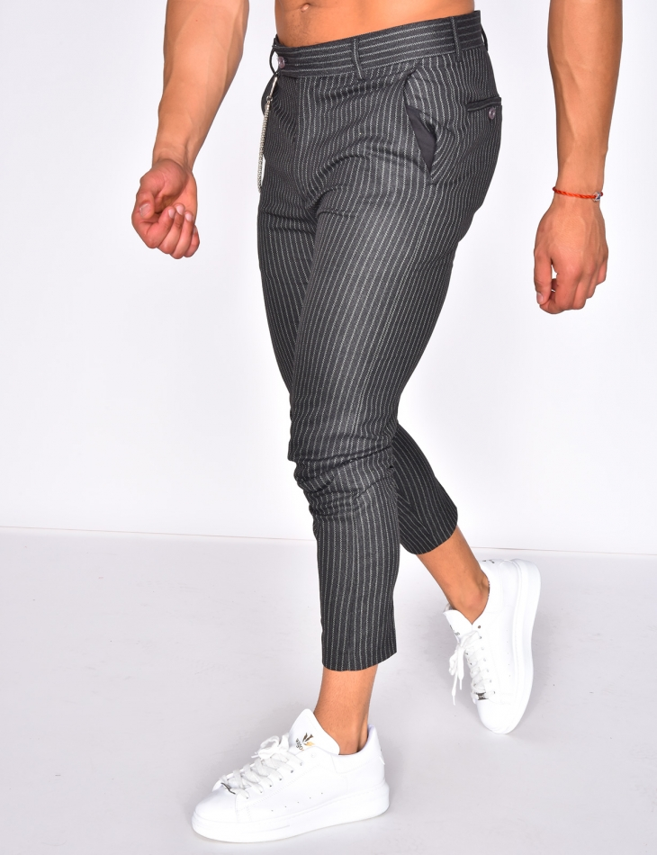 Striped Trousers with Chain